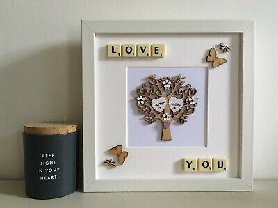 £29 • Buy Scrabble Picture Frame Tree - Couples Valentines Engagement Wedding Anniversary
