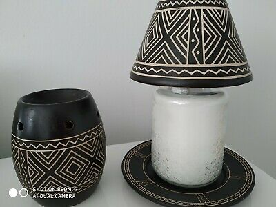 Yankee Candle 'african Etched'' Large Plate & Shade Set & Matching Wax Melter • 30£