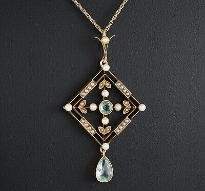 Antique Edwardian 15Ct Gold Pendant With Aquamarine & Pearls On 9Ct Gold Chain  • 675£