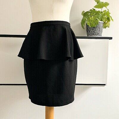 TOPSHOP Skirt Size 10 BLACK | PEPLUM Smart CASUAL Knee Work Office Party Casual • 12.95£