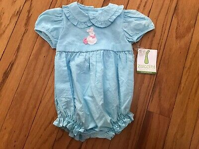 $14.99 • Buy Zuccini Turquoise Girl Bubble Crochet Bunny Creeper 6 Mths Easter Spring NWT