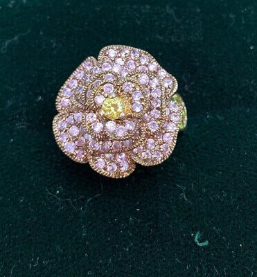 $14.99 • Buy Charles Winston~CWE FLOWER RING 3-D STERLING 925 Pink/Green Accents Size 6 1/2