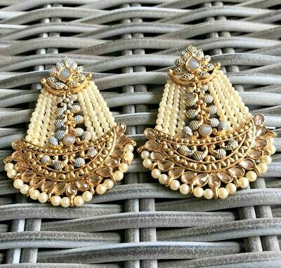 AU35 • Buy White Pearl Long Ethnic Indian Bollywood Earrings Bridal Wedding Party Jewellery