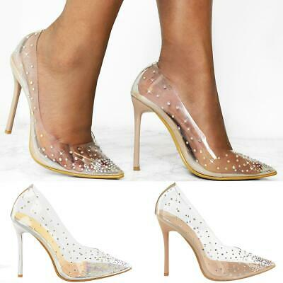 Womens Ladies Stiletto High Heel Pointed Party Diamante Perspex Court Shoes Size • 19.99£
