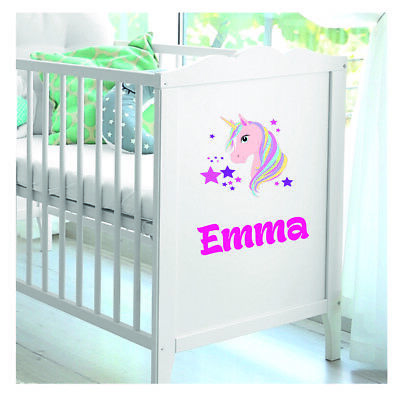 Personalised Name And Unicorn Vinyl For Baby Cot Crib Girls Boys Sticker Decal. • 2.99£