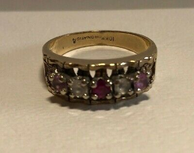 $139.99 • Buy Vintage Estate 10K Gold Multi Colored Mothers Ring 5 Stones Size 8.5 Coronation