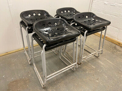 Four Retro Original Stacking School Lab Stools. Bar, Cafe, Kitchen. • 120£