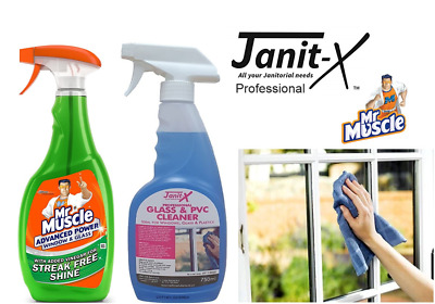 Janit-X Professional Or Mr Muscle Window Glass & PVC Cleaner Sprays 6 X 750ml • 5.99£