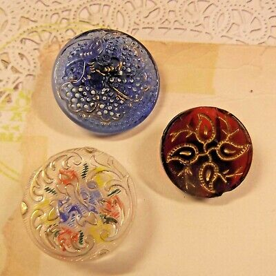 $8.99 • Buy 3 Antique Glass Buttons Blue, Red, Clear With Painted Back