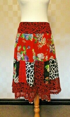 Joe Brown Ladies Boho/Gypsy/Ethnic Chiffon Multicoloured Tiered Skirt. UK 14. • 12£