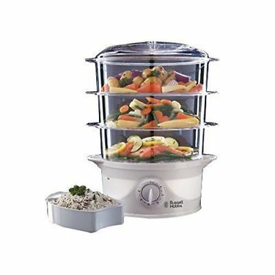 £35.99 • Buy Russell Hobbs 21140 9 Litre 800W 3 Tier Food Steamer With Drip Tray - White