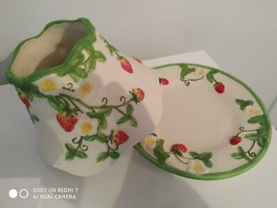 Yankee Candle 'strawberry Fields' Ceramic Large Shade& Plate Set Rare Accessory • 40£