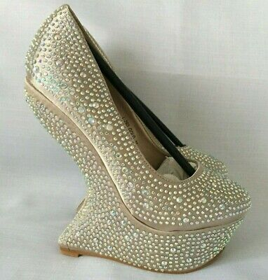 Womens Curved Wedge Gems Encrusted Diamante Bling Platform Shoes Wedding Prom  • 22.99£