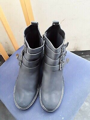 Superdry New Womens Black Military Leather Boots Ankle Buckle Zip Uk Size 8 • 40£