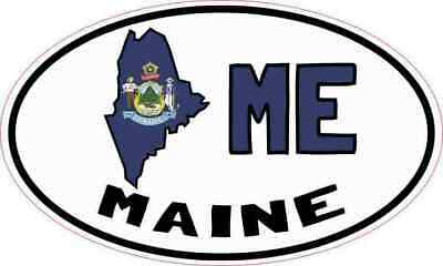 $5.99 • Buy 5X3 Oval ME Maine Sticker Vinyl Luggage Car Truck Bumper Cup Tumbler Stickers