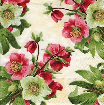 6 X PAPER NAPKINS For Decoupage EASTER ROSE FLORAL FLOWERS - SMALL COCKTAIL SIZE • 1.24£