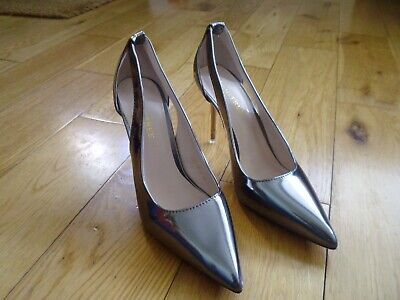 NEW Size UK 4 EU 37 Pewter Metallic Look High Heel Stiletto Shoes By BigTree  • 5£
