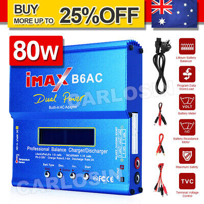 AU45.85 • Buy IMax B6AC 80W RC Lipo NiMh Digital Battery Balance Charger Discharger Adapter AU