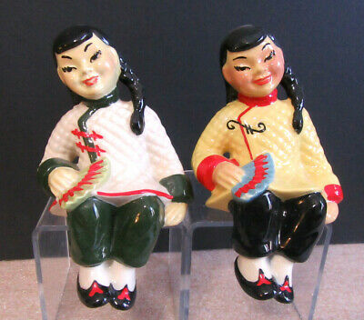 $25 • Buy Pair Of Chinese Ladies Women Shelf Sitters Ceramic Arts Studio Figurines