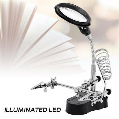 LED Magnifying Lamp Glass With Light Magnifier On Stand Clamp Arm Hands FreeUK • 7.99£