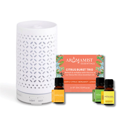 AU109.99 • Buy Aromatherapy Starter Kit - Aromamist Ceramic Diffuser + 3 Essential Oil Pack