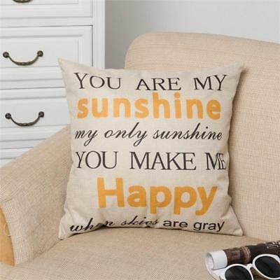 You Are My Sunshine Romantic Linen Pillow Case Cushion Cover Sofa Decoration 6A • 3.52£