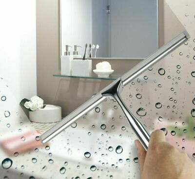 Stainless Steel Glass Window Bathroom Shower Squeeze Wiper With Hook • 9.95£
