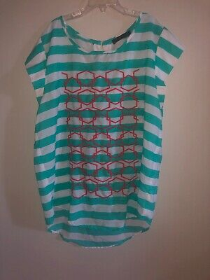 $ CDN13.26 • Buy Anthropologie THML Womens Medium Shirt Top Embroidered Turquoise Stripe