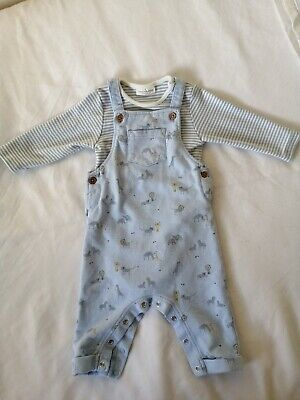 Baby Boy Blue Animal Print NEXT Dungarees & Long Sleeve Vest Great Condition • 2.40£