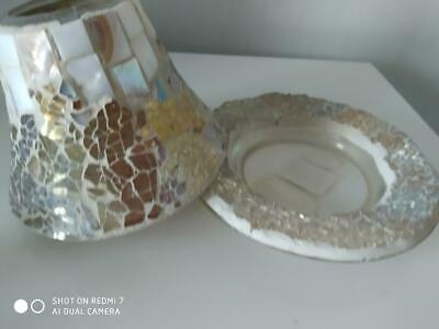 Yankee Candle Plate & Shade Set In  'gold/pearl Mosiac' Design -perfect Cond • 10£