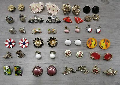 $ CDN13.24 • Buy Vintage Costume Jewelry Lot Cluster Floral Lot Of 24 Clip Earrings AS IS