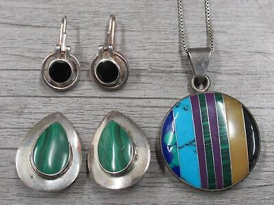 $ CDN18.55 • Buy Sterling Silver Jewelry Lot Multicolor Stone Inlay Pendant Necklace Earrings