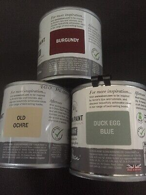 Annie Sloan Paint 3 X 120ml Tins Burgundy, Old Ochre & Duck Egg Blue • 32.30£