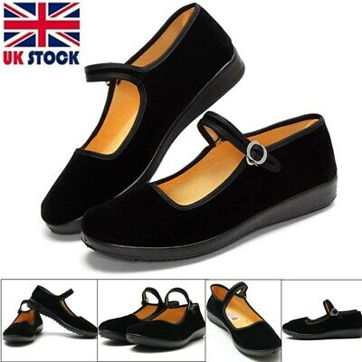 Women Chinese Mary Jane Shoes Ballerina Velvet Fabric Cotton Sole Flats Shoes • 6.08£