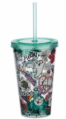 Simons Cat Funky Children's Plastic Double Walled Cup With Lid And Straw • 6.95£
