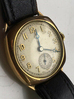 Antique Vintage Wrist Watch - Gold Plated 1920's Cushion Cased - Working. Boxed • 26£