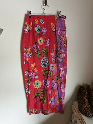 Bohemian Contrast Ethnic African Cotton Skirt Size Medium 10 Midi Wrap • 8.99£