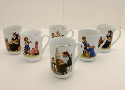 $ CDN17.57 • Buy VTG Norman Rockwell Coffee Cups Mugs Set Of 6 Museum Collection, 1982