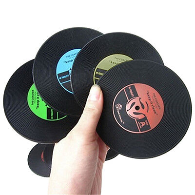 Retro Vinyl CD Album Records Drink Coaster Bar Table Cup Glass Skid Mat Holderuv • 2.10£