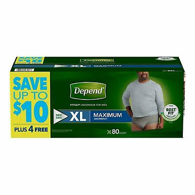 $117.51 • Buy Depends For Men Depend XL XLarge Mens Incontinence Disposable Underwear 80 Ct.