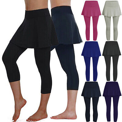 Women's Skirt Leggings Pants Sports Fitness Cropped Culottes Workout Trousers • 6.98£