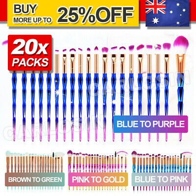AU9.95 • Buy Diamond Unicorn 20PCS Eyeshadow Eyebrow Blending Brush Set Eye Make-up Brushes A