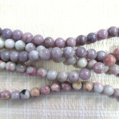 $16.99 • Buy 10mm Lepidolite With Pink Tourmaline Semi Round Beads 15