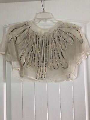 $ CDN47.57 • Buy Anthropologie/ Feather Bone Small Beaded Wedding Topper/shrug/bolero NWT