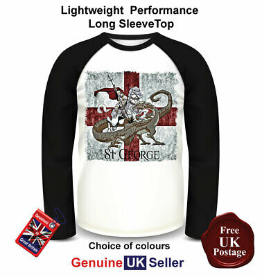St Georges Day T Shirt, Men's St Georges Long Sleeve Top,St Georges Baseball Top • 17.95£