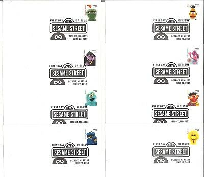 AU60 • Buy USA 2019 Sesame Street Set Of 8 First Day Covers FDC With 8 Forever Stamps