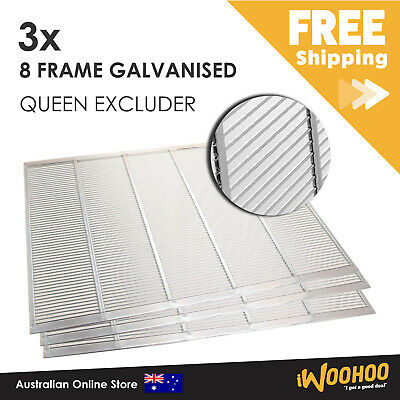 AU45 • Buy 3 X 8 Frame Galvanised Queen Bee Excluder For Hive Box. Carton Of 3 Excluders