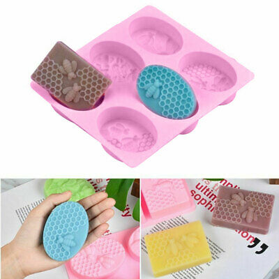 UK Silicone Soap Mold 3D Honey Bee Honeycomb Oval Shape Cake Mould Candle Wax • 3.82£