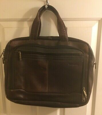 Samsonite Brown Leather Business Laptop Briefcase Carry On - Free Shipping! • 24.82£