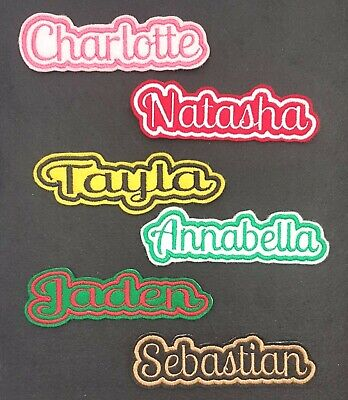 Personalised Embroidered Name Patch Badge C1 Iron On Sew On • 3.40£